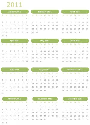 To download and print this Free Monthly Blank Calendar 2011 January: