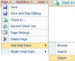 Import web part menu