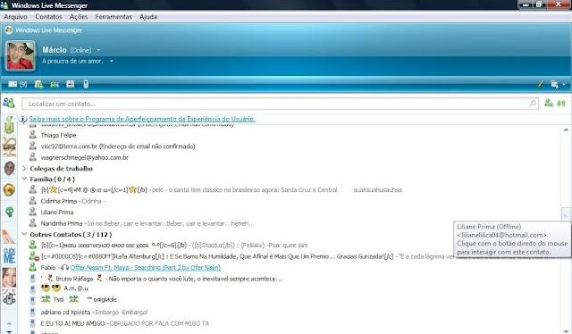 Windows Live Mensseger 8.5 português BR com Windows Live E-mail