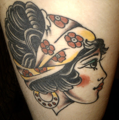 Gypsy lady head tattoo with x-ray veil. Placement: lower arm