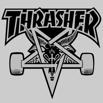 This tattoo features the pentagram logo for Thrasher magazine, a periodical