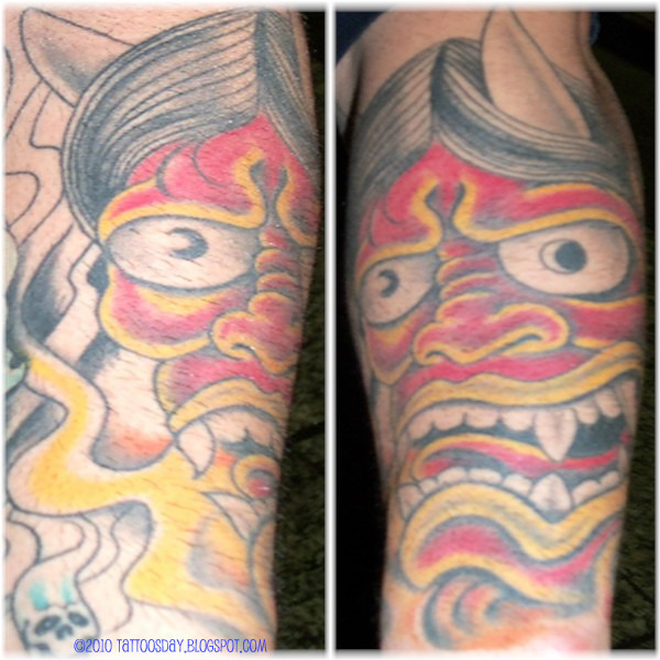 Tags: chris garver tattoo love hate miami ink hannya mask fu dog foodog