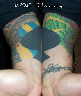Here's a shot of the coolest Spades tattoo, straddling both of Matt's inner