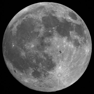 international space station's moon transit