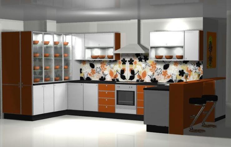 Cocina en blanco y naranja