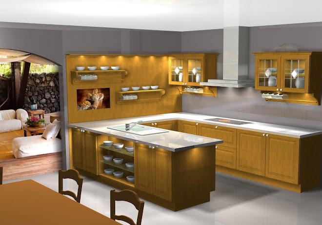 Diseño de cocina en roble. Experts cuisine