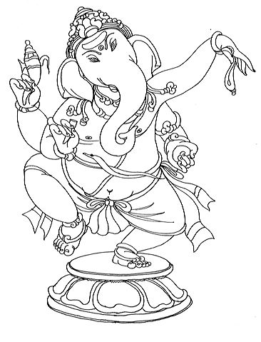 Love this black and white version of ganesh. Print out as a colouring ...