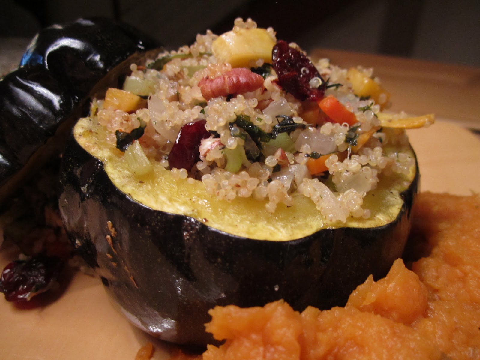 ... Veggie, Quinoa, Cherry & Pecan Stuffing. Plus Mashed Sweet Potatoes