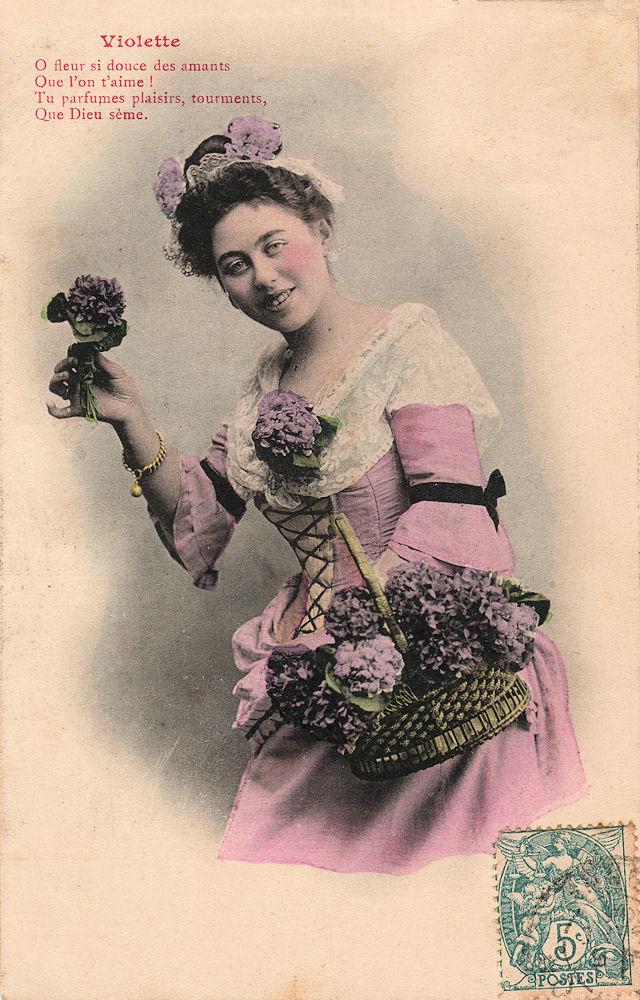 cartes postales anciennes carte postale ancienne violette. Black Bedroom Furniture Sets. Home Design Ideas
