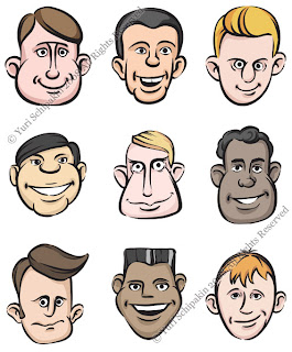 Funny men faces set