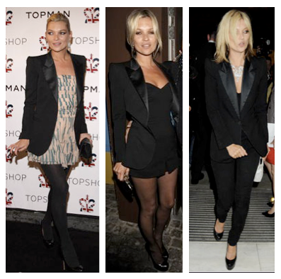 Looks fiesta Kate Moss tributo a la chaqueta smoking