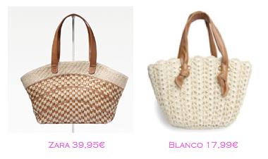 Capazos trendy: Zara 39,95€ - Blanco 17,99€