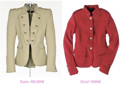 Chaquetas militares: Zara 69,95€ - Gant 385€
