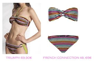 Comparativa precios bikinis para delgadas: Triumph 69,90€ vs French Connection 48,65€