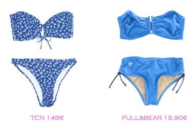 Comparativa precios bikinis rellenitas: TCN 148€ vs Pull&Bear 19,90€