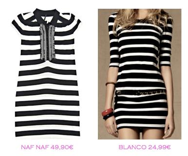 Comparativa precios: Vestidos rayas marineras: Naf Naf 49,90€ vs Blanco 24,99€