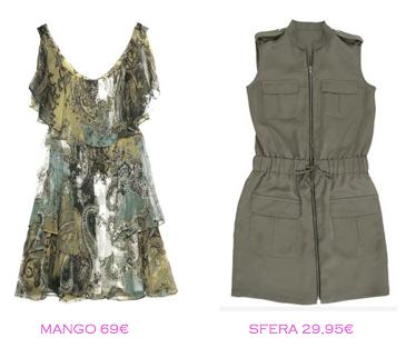 Comparativa precios: Vestidos tendencia militar: Mango 69€ vs Sfera 29,95€