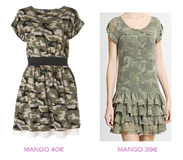 Comparativa precios: Vestidos tendencia militar: Mango 40€ vs Mango 39€