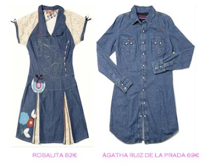 Comparativa precios: Vestidos denim: Rosalita 82€ vs Ágatha Ruiz de la Prada 69€