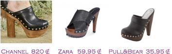 Comparativa precios 2010: Zuecos: Chanel 820€ - Zara 59,95€ - Pull&Bear 35,95€