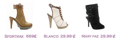 Comparativa precios 2010: Botines talón descalzo: Sportmax 669€ - Blanco 29,99€ - Mary Paz 29,99€