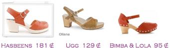 Comparativa precios 2010: Sandalia plana madera: Hasbeens 181€ - Ugg 129€ - Bimba & Lola 95€