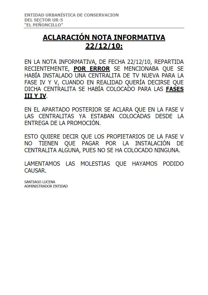 ASOCIACIÓN DE VECINOS ATALAYA DE CÁRTAMA: CIRCULAR DE LA ENTIDAD
