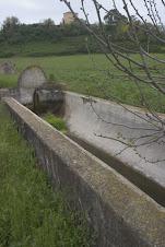 Un fontanile in disuso nella Valle della Selcetta. Sullo sfondo la Torre di Perna.
