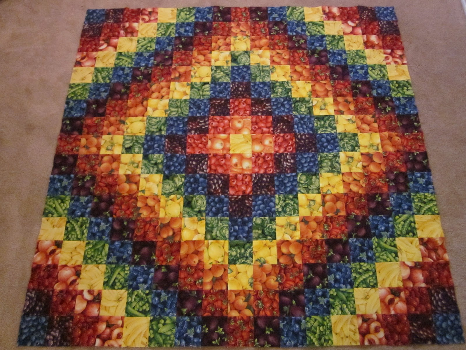 Free Quilting Pattern For Trip Around The World : ~ Zany Quilter ~: Rainbow Trip Around The World quilt...