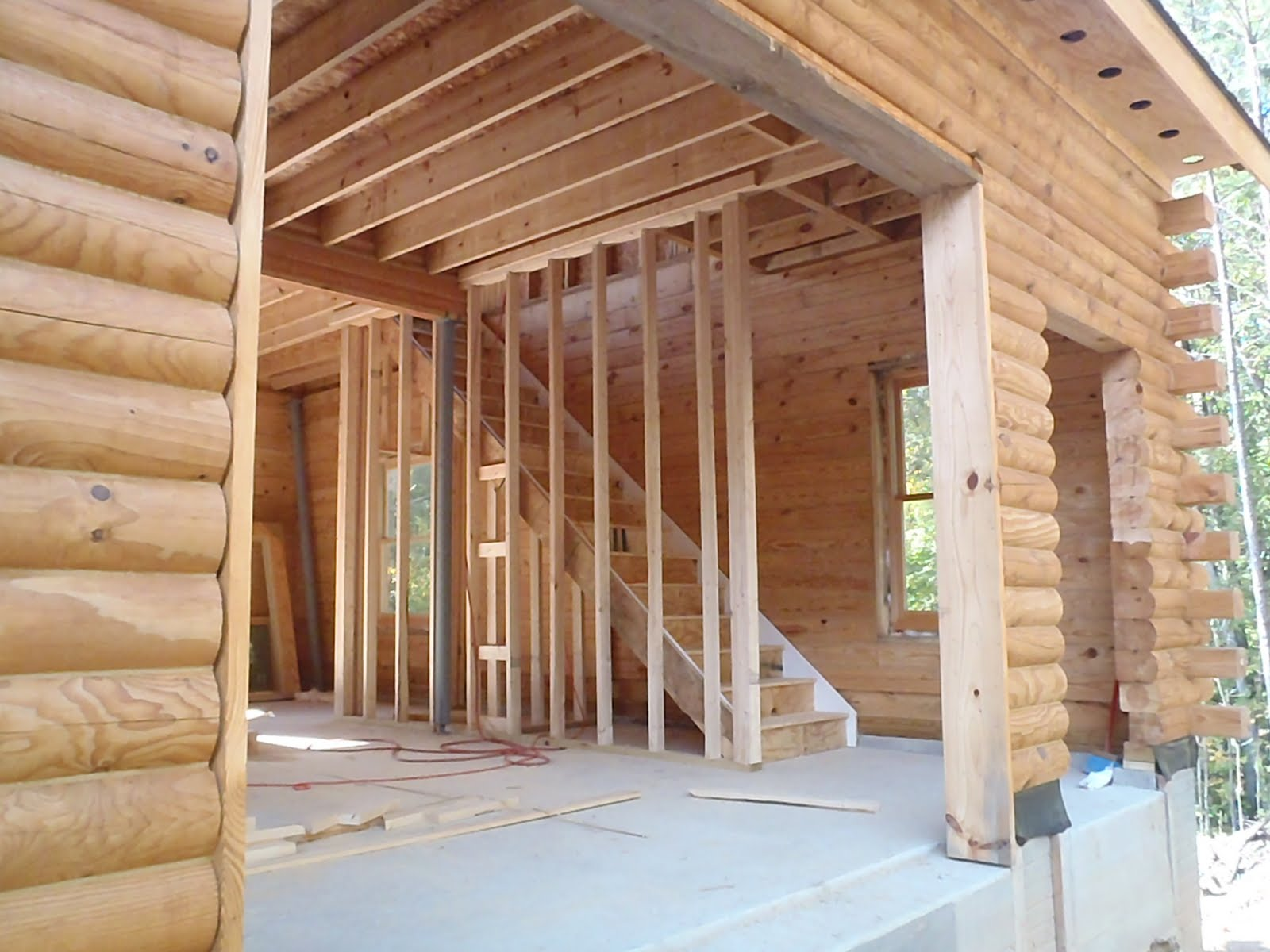 Construction Of Our Log Home Windows And Stairs