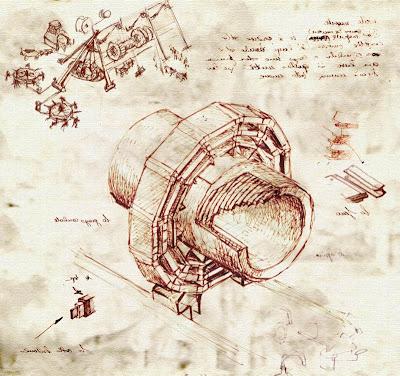 Gran Colisionador de Hadrones (LHC) recreado en un grabado al estilo de Leornado Da Vinci