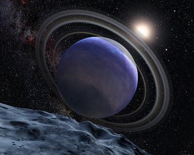 Representación artística del exoplaneta HP 879b. Créditos: NASA, ESA, y D. Lafrenière (Universidad de Toronto, Canadá).