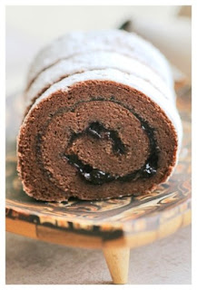 Blueberry Choco Cotton Roll Cake