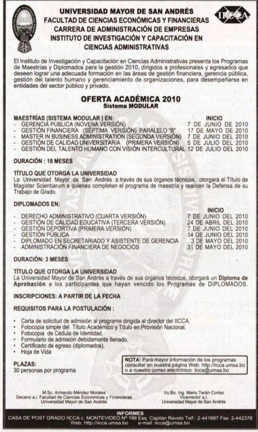 UMSA OFERTA ACADEMICA FACULTAD DE CIENCIAS ECONOMICAS Y FINANCIERAS