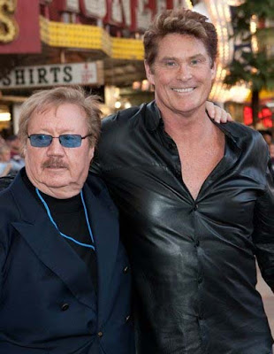 Photo of David Hasselhoff & his friend tv-personality  George Barris -