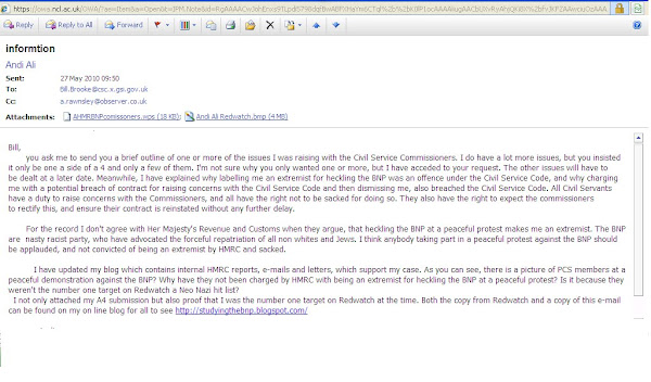 The e-mail which Civil Service Commisoners deleated despite forming part of my appeal