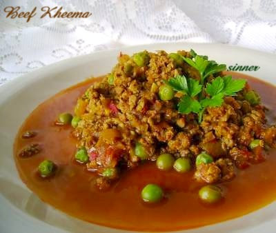 Beef mince curry with peas