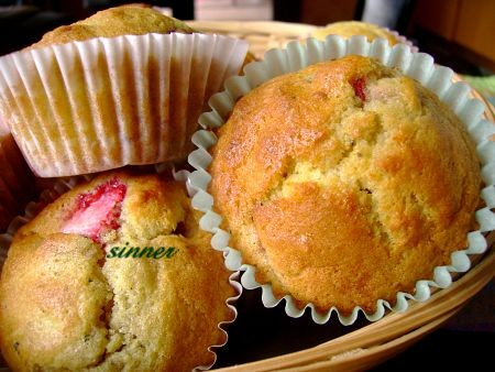 Fresh strawberry rosemary muffin