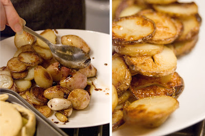 Balsamic braised shallots and crispy potatoes