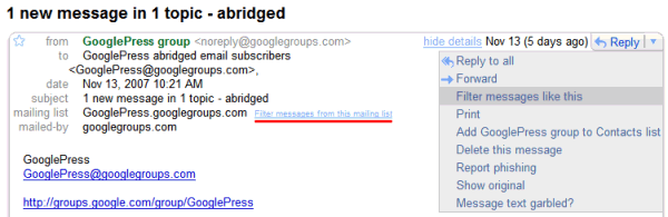 Filter Messages from a Mailing List in Gmail