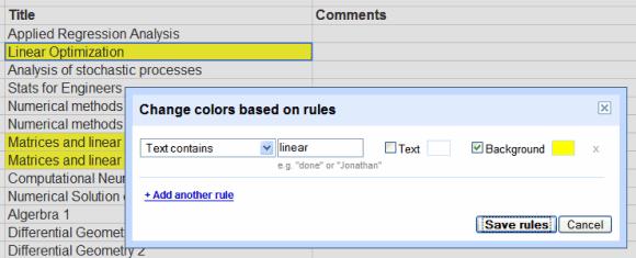 Google spreadsheet formula contains