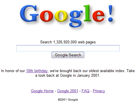 google search logo. Google Time Machine: the Web