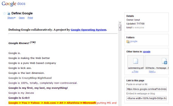 Google Docs gets Shared Folders