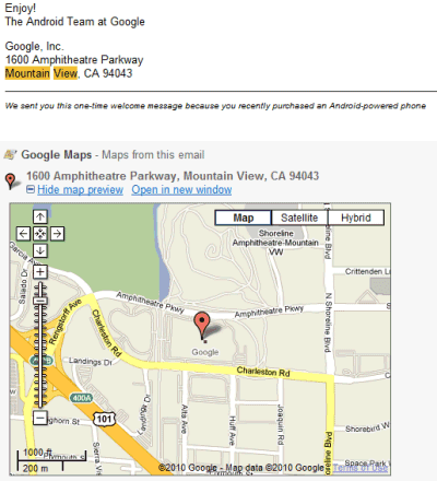 Google Maps Previews in Gmail