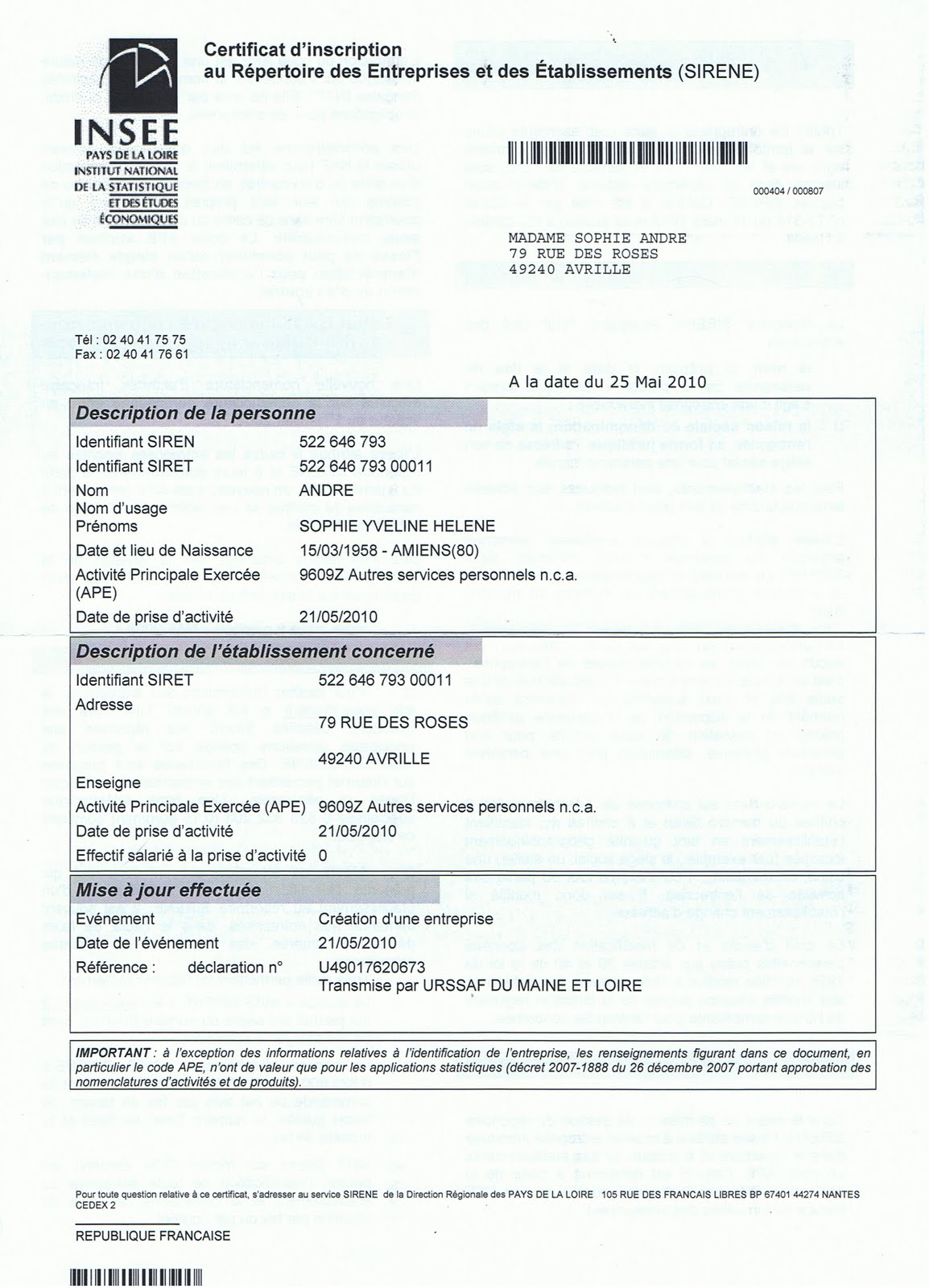 B T 39 Adom 39 Avrill Certificat De Capacit N Siret
