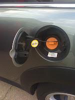 Mini-E electric Mini Cooper #339 My Mini-E field trial fuel door charging port