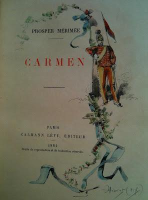 Un exemplaire du Carmen (1884), rendu unique par l'artiste caricaturiste Henriot (1886) dans Bibliophilie, imprimés anciens, incunables carmen_15