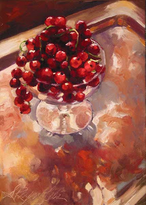 red currants on silver tray oil on canvas painting