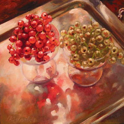 oil on canvas painting red and white currants