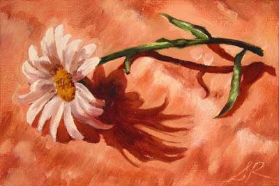 daisy pink silk oil painting canvas